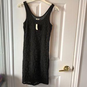 🆕 AERIE Grey Lace Bodycon Sleeveless Mini Dress S